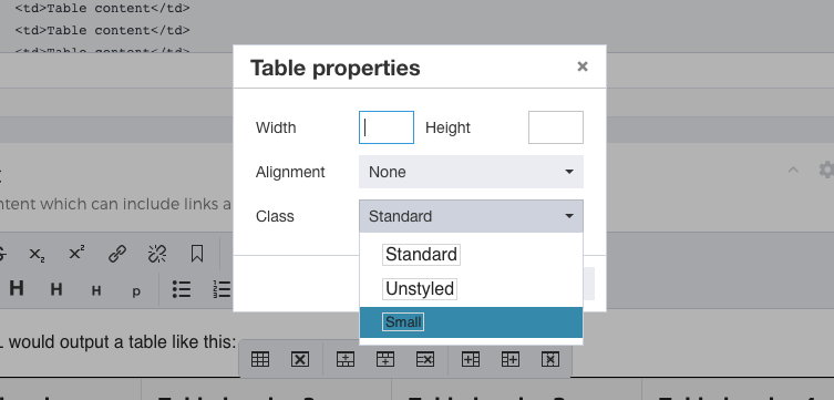 Content table class